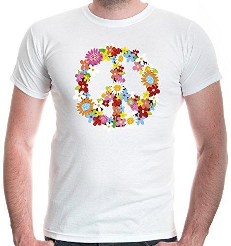 buXsbaum Herren T-Shirt Peace Flower Symbol Frieden Hippie | XL, Weiß Hippie-batik