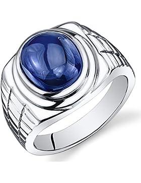 Revoni Herren 8.00 Karat ovaler Cabochon blauer Saphir Ring 925 Sterlingsilber mit Rhodium Politur