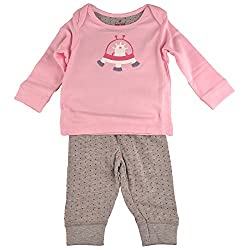 Bio Kid Long Pyjama Set - Orcid Pink Top & Grey Melange Aop - 1 Set Pack (0 - 3 Months)
