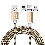 Vdesign iPhone aufladend magnetisches USB Art C Mikro-USB C Blitz-Kabel 3 in 1 Ladekabel 3.3ft/6.6ft rechtwinklig Schnellladung und Daten-Synchronisierung für Telefone und Tabletten Android Samsung