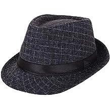AIEOE - Sombrero Hombre Boda Panamá Jazz con Ala Ancha Gorro de Copa  Disfraz Trilby Hat 1aa231b328e