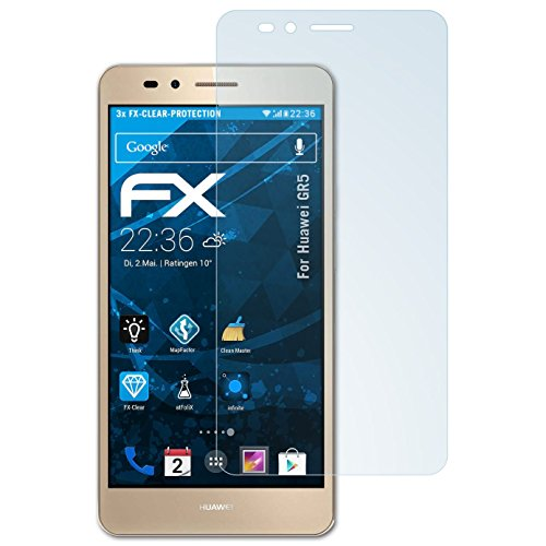 atFolix Schutzfolie kompatibel mit Huawei GR5 Folie, ultraklare FX Bildschirmschutzfolie (3X)