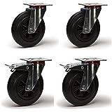 4 Roulettes pivotantes + frein 100 mm caoutchouc LOT991 - Roulette pivotante monture en tôle acier zinguée Roue diamètre 100 à bandage caoutchouc noir élastique à roulement à rouleaux , déplacement facile, silencieuse , manutention lourde, déplacement extérieure