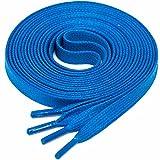LACCICO Finest Waxed Laces 6 mm breite flache gewachste Schnürsenkel; Farbe: Blau , Länge: 75 cm