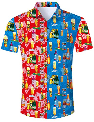 uideazone Camisa Hawaiana Hombre Casual Manga Corta Unisex 3D Impresión  Verano Playa Funny Hawaii Shirt ( fd07d2b8fc0