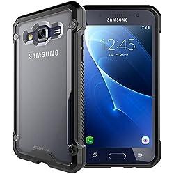 TECHGEAR Fusion Armour Coque Protective Solide Svelte Anti-Choc Compatible pour Samsung Galaxy J3 2016 (Séries SM-J320) (Noir/Givré)