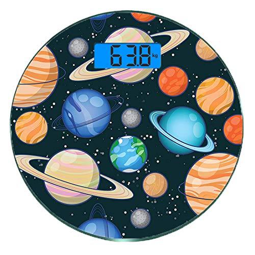 Digitale Präzisionswaage für das Körpergewicht Runde Galaxy Cute Galaxy Space Art Sonnensystem mit Planeten Mars Merkur Uranus Jupiter Venus Kids Print Ultra dünne ausgeglichenes Glas-Badezimmerwaage-