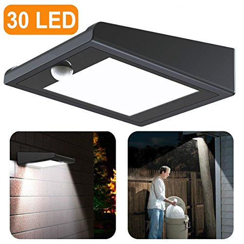 【Upgraded Version】30 LED Solar Light,Holan Solar Powered Security Lights Outdoor, Super Bright / Waterproof / Wireless / 120 Degree Wide Angle Motion Sensor Wall Lights for Garden, Fence, Patio, Deck, Yard, Driveway, Stairs, Outside Wall etc