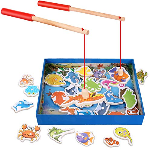 LVHERO Magnet-Angelspiel, 32 Fische Frühe Entwicklung des Bildungswesens Magnetic Bad Angeln Hubtabelle Spiel, Geburtstagsgeschenk HolzSpielzeug Magnet Spielzeug