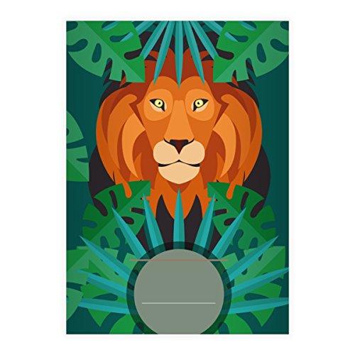 8 Grüne Dschungel DIN A5 Schulhefte, Schreibhefte mit Löwe im Urwald Lineatur 6 (blanko Heft)