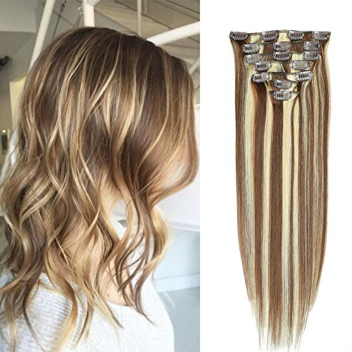 Clips Cheveux Extension Naturel #4/613 Marron Chocolat Meche Blond clair Balayage 50cm Long 7 Bandes 70g - 100% Remy Humain Hair Double Weft