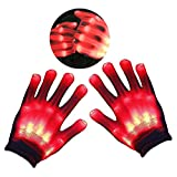 Teepao LED Leuchtende Skelett-Handschuhe, Handschuhe Glow mit Multi Modi, Bunten Finger Beleuchtung für Vereine/Raves/Festivals/Halloween/Bonfire Night/Party/Spiele (Weiß) Rot