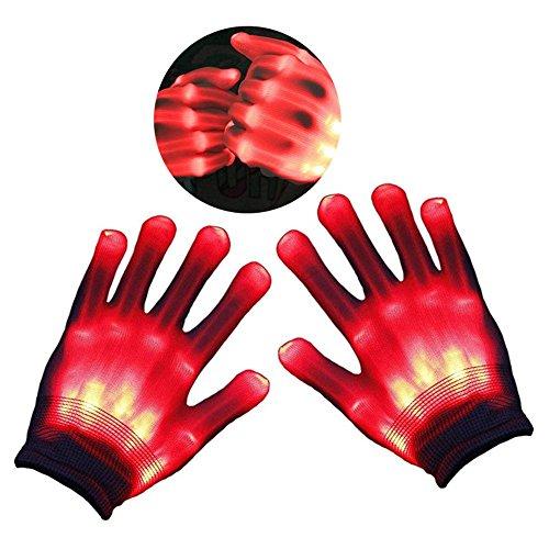 (Teepao LED Leuchtende Skelett-Handschuhe, Handschuhe Glow mit Multi Modi, Bunten Finger Beleuchtung für Vereine/Raves/Festivals/Halloween/Bonfire Night/Party/Spiele (Weiß) Rot)