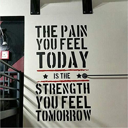 Der Schmerz, Den Sie Heute Fühlen.Home Fitness Gym Wandaufkleber, Krafttraining Vinyl Wandkunst Wandtattoo Raumdekorationen 90X50 Cm