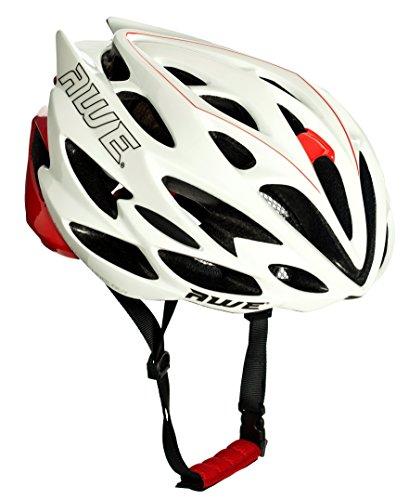 AWE® AWESpeed™ Sostituzione di Crash Gratis 5 Anni * nello Stampo di Ciclismo su Strada Uomini Adulti Casco Bianco/Rosso 56-58cm
