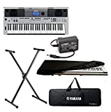 yamaha keyboard Combo Pack of PSR-I455, 61 Keys Touch Sensitive Keyboard with Stand, Adapter, Padded Bag and Dust Cover