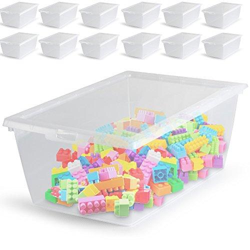12x Aufbewahrungsbox Sammelbox Lagerbox Gerätebox Universalbox Stapelbox Schuhbox Set mit Deckel