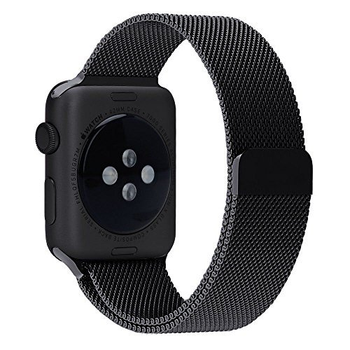 BRG 42mm Milanese Loop Stainless Steel Replacement Band Strap for Apple Watch With Magnet Lock(42mm-Black)