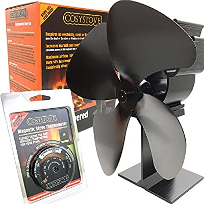 Cosystove 4 Blade Silent Heat Powered Stove Fan with Thermometer Redesigned for 2018