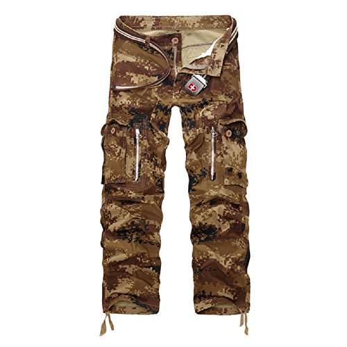 AYG Herren Cargo Hose Camouflage Trousers(sand camo,36)