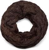 styleBREAKER warmer Feinstrick Loop Schal mit Flecht Muster und sehr weichem Fleece Innenfutter, Schlauchschal, Unisex 01018150, Farbe:Dunkelbraun
