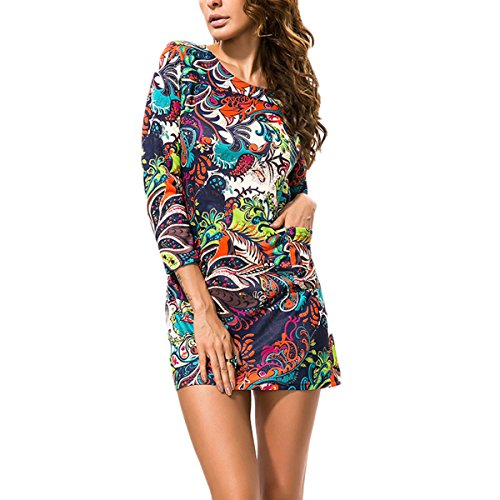 Damen Elegant 3/4-Arm SommerKleider Druck Rundkragen Bodycon Ethnisch Gedrucktes Tunikakleid Party Minikleid Grün
