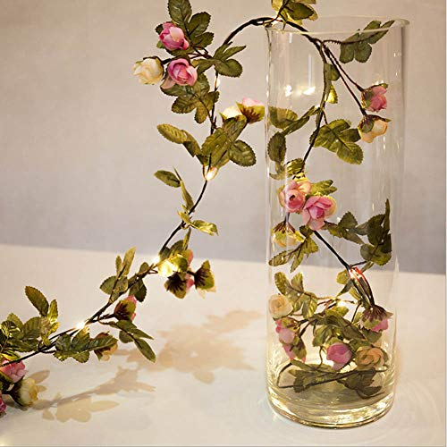 hterkette Kupferdraht Lampe Rattan Blume Rose Holz herzförmigen LED String Valentinstag dekorative Lichter(H01) ()