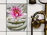 creatisto Fliesendekor Klebefolie | Fliesen-Sticker Aufkleber Folie selbstklebend Bad renovieren Küche Wanddekoration | 15x20 cm Design Motiv Flower Buddha - 1 Stück