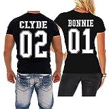 Spaß kostet Partnershirts Tshirt Bonnie 01 und Clyde 02 Größe XS - 8XL