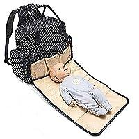 Bonamana Multifunction Backpack Diaper Bag Waterproof Baby Nappy Bag Mummy Bag with Changing Pad Large Capacity (Black)