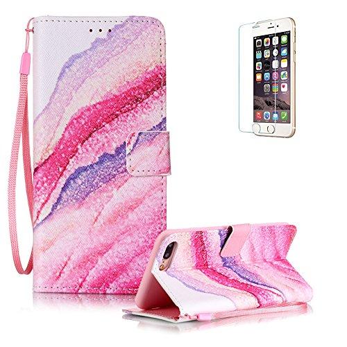 Für iPhone 7 Plus 5.5 zoll Lederhülle Schutzhülle,Für iPhone 7 Plus 5.5 zoll Full Body Schutz Tasche Case,Funyye Stilvoll Mode [Bunt Muster] Flip Wallet Case Slim PU Leder Cover Tasche Handy Case Schu Gestein