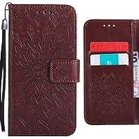 Ougger Funda para Xiaomi Redmi Note 4X Carcasa, Flores Floreciendo Silicona Tapa Premium Piel Billetera PU Cuero Magnética Stand Flip Cover Bumper Protector con Ranura para Tarjetas (Marrón)