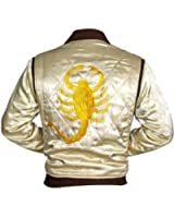 Drive Trucker Ryan Gosling Ivory Slim Fit Jacket With Golden Embroidery Scorpion Jacket