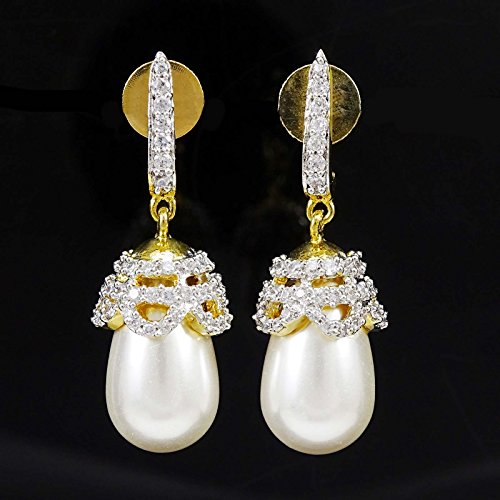 Banithani Concepteur Traditionnelle Ad Pierre Dangle Boucle Bollywood Indian Bijoux Blanc-1