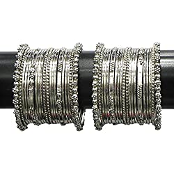 YouBella Jewellery Traditional Silver Plated Oxidized Bracelet Bangles Set For Girls and Women (2.8)