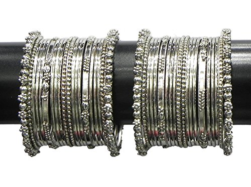 YouBella Jewellery Traditional Silver Plated Oxidized Bracelet Bangles Set For Girls and Women (2.6)