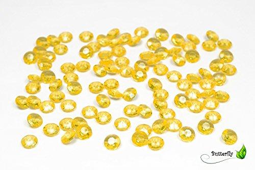 100 Dekosteine Diamanten 12mm ( gelb 645 ) // Deko-Steine Diamanten 1,2 cm Streudeko Tischdeko Steine Diamonds Kristall Hochzeit Streuteile