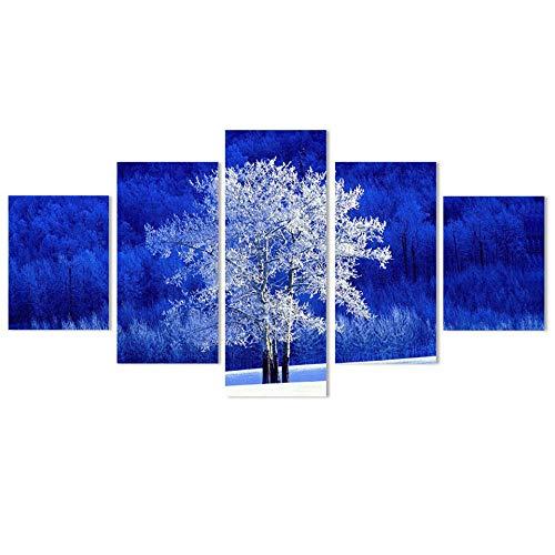 axqisqx Wandkunst Wandkunst Malerei Dekor Wohnzimmer Modular Hd Gedruckt 5 Panel Weißer Baum Und Blauer Hintergrund Leinwand Poster Home Bilder -