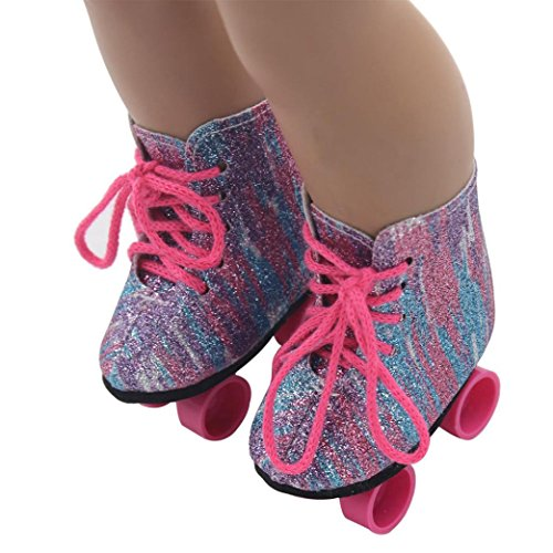 Puppen Schuhe , YUYOUG Glitter Puppe Roller Skates für 18 Zoll unsere Generation American Girl Doll und anderen 16 Zoll 18 Zoll Puppen (Girl Doll Möbel-american)