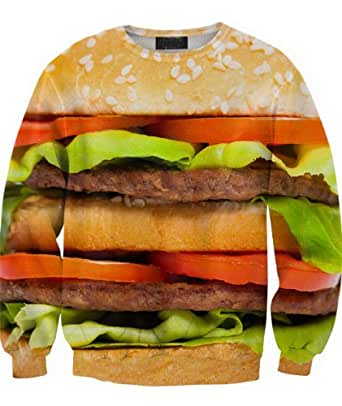 Sheinside Yellow Hamburger Print Unisex Sweatershirt (S, Yellow)