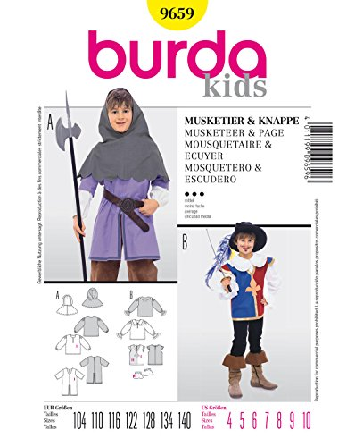 Burda 9659 Schnittmuster Kostüm Fasching Karneval Musketier & Knappe (kids, Gr. 104-140) - Level 3 - Kinder Kostüm Katalog