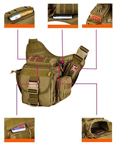 Outdoor Multifunzione Borsa a Tracolla Tattico Militare Borsa Messenger Porta Fotocamera per Sport Campeggio Alpinismo Escursionismo, Verde Marrone Scuro