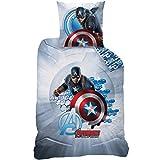CTI 043217 Bettwäsche Captain America, Bettbezug 140x 200cm + 1Kissenbezug 63x 63cm, Baumwolle, Grau