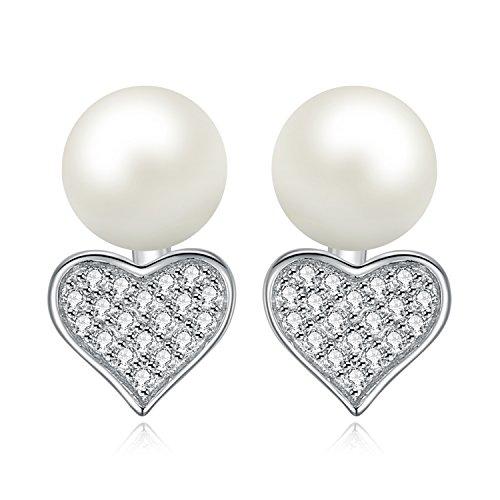 Jewelrypalace amore 7mm perla coltivata in fresca acqua dolce pulsante palla davanti and dietro stud orecchini jackets 925 sterling argento