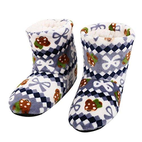 SHOBDW Weihnachtsgeschenk Plüsch Bodenschuhe Damen Baumwolle Warme Hausschuhe Weiche Plüsch Weihnachtssocken (Freie Größe (35-40), Grau)