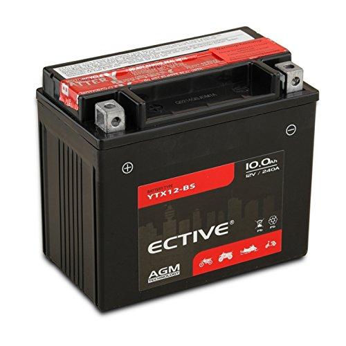 ECTIVE Motorradbatterie | 8-Varianten: 6Ah - 18Ah | 12V AGM-Motorradbatterie absolut wartungsfrei | Inkl. 7,50 EUR Batteriepfand |Premium Powersports Motorradbatterie in Erstausrüster-Qualität inkl. Säurepack (YTX12-BS 10Ah)