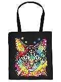 Stofftasche mit buntem Katzen-Motiv: Blue Eyes - Einkaufstasche aus Baumwolle - Farbe: schwarz
