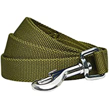 Umi. by Amazon - Durable Classic Solid Color Dog Lead 120 cm x 2.5cm in Olive, Large, Basic Leads for Dogs