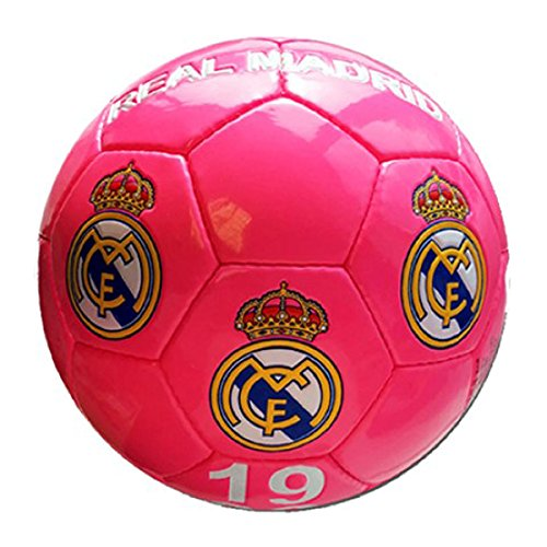 Real Madrid – Gran de balón de fútbol de Real Madrid, color rosa fluorescente