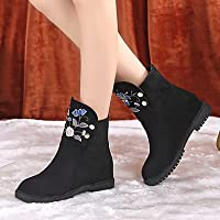 Wuyulunbi@ Women'S Shoes Fabric Fall Winter Comfort Boots Flat Heel Booties/Ankle Boots For Casual Black